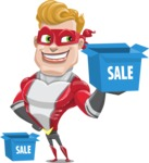 superhero vector cartoon character - Mister Magnetic - Sale