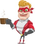 superhero vector cartoon character - Mister Magnetic - Coffee