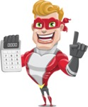superhero vector cartoon character - Mister Magnetic - Calculator