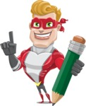 superhero vector cartoon character - Mister Magnetic - Pencil