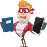 superhero vector cartoon character - Mister Magnetic - Book and iPad