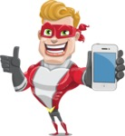 superhero vector cartoon character - Mister Magnetic - iPhone