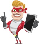 superhero vector cartoon character - Mister Magnetic - iPad 3
