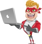 superhero vector cartoon character - Mister Magnetic - Laptop 1