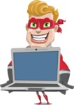superhero vector cartoon character - Mister Magnetic - Laptop 2