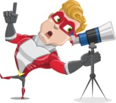superhero vector cartoon character - Mister Magnetic - Telescope