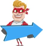 superhero vector cartoon character - Mister Magnetic - Pointer 2