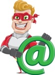 superhero vector cartoon character - Mister Magnetic - Email