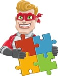 superhero vector cartoon character - Mister Magnetic - Puzzle