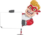 superhero vector cartoon character - Mister Magnetic - Sign 4