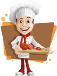 Italian Chef Cartoon Vector Character - Charming Chef with Background Illustration