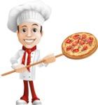Italian Chef Cartoon Vector Character - Cooking Italian Pizza