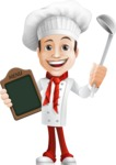 Italian Chef Cartoon Vector Character - Holding Ladle and Restaurant Menu