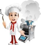 Italian Chef Cartoon Vector Character - Messy Kitchen
