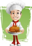Italian Chef Cartoon Vector Character - Premium Products Illustration with Background