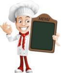 Italian Chef Cartoon Vector Character - Showing Big Blank Menu