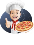 Italian Chef Cartoon Vector Character - Smiling Chef With Baked Croisants Illustration