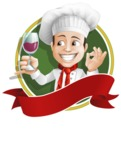 Italian Chef Cartoon Vector Character - Sticker Template with Label and Italian Chef