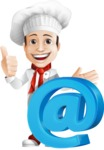 Italian Chef Cartoon Vector Character - With Email Web Sign