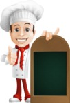 Italian Chef Cartoon Vector Character - With a Menu and Giving Thumbs Up