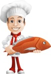 Italian Chef Cartoon Vector Character - With Big Fish to Cook