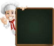 Italian Chef Cartoon Vector Character - With Big Presentation Board