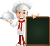 Italian Chef Cartoon Vector Character - With Big Restaurant Menu Board and a Tray