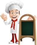Italian Chef Cartoon Vector Character - With Blank Menu Board