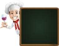 Italian Chef Cartoon Vector Character - With Dinner Menu Board
