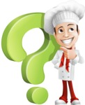 Italian Chef Cartoon Vector Character - With Question Mark