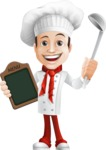 male chef vector cartoon character - Basilio the Chef Artist - Ladle