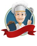 French Chef Cartoon Vector Character AKA Raphael MasterChef - Sticker Template with Label