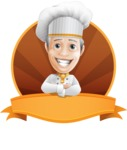 French Chef Cartoon Vector Character AKA Raphael MasterChef - Restaurant Premade Sticker Template With Label and Smiling Chef