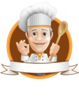 French Chef Cartoon Vector Character AKA Raphael MasterChef - Restaurant Banner Design Template