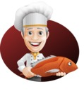 French Chef Cartoon Vector Character AKA Raphael MasterChef - Fish Cooking Illustration with Background