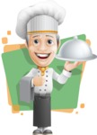 French Chef Cartoon Vector Character AKA Raphael MasterChef - Holding Tray with Flat Background Illustration