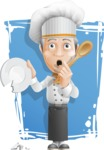 French Chef Cartoon Vector Character AKA Raphael MasterChef - Making a Mistake Illustration with Background