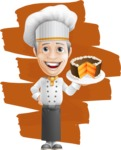 French Chef Cartoon Vector Character AKA Raphael MasterChef - With Dessert and Cool Background Illustration