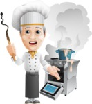 French Chef Cartoon Vector Character AKA Raphael MasterChef - Messy Kitchen