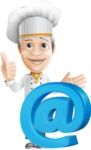 French Chef Cartoon Vector Character AKA Raphael MasterChef - With Email Web Sign