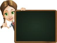 School Girl with Uniform Cartoon Vector Character AKA Viola - Presentation 5
