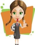 School Girl with Uniform Cartoon Vector Character AKA Viola - Shape 5
