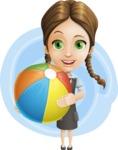 School Girl with Uniform Cartoon Vector Character AKA Viola - Shape 8