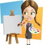 School Girl with Uniform Cartoon Vector Character AKA Viola - Shape 10