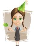 School Girl with Uniform Cartoon Vector Character AKA Viola - Shape 11