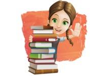 School Girl with Uniform Cartoon Vector Character AKA Viola - Shape 12