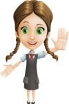 School Girl with Uniform Cartoon Vector Character AKA Viola - Hello