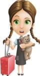 School Girl with Uniform Cartoon Vector Character AKA Viola - Travel