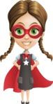 School Girl with Uniform Cartoon Vector Character AKA Viola - Super Girl