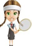 School Girl with Uniform Cartoon Vector Character AKA Viola - Tennis